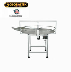 Globaltek Stainless Steel 48 Dia. Unscrambler Rotary Table With In Feed Table