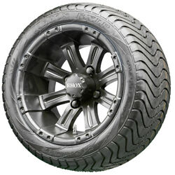 12 Rhox Rx184 Black Golf Cart Wheels And Low Profile Tires Combo Set Of 4