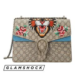 GUCCI DIONYSUS MEDIUM SHOULDER BAG Angry Cat Blue Embroidered Marmont Supreme GG