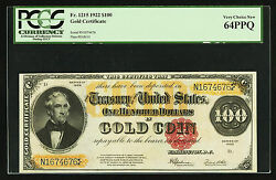FR. 1215 1922 $100 ONE HUNDRED GOLD CERTIFICATE PCGS VERY CHOICE NEW-64PPQ