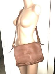VINTAGE 90'S COACH LEATHER TAN BUCKET SIDE MESSENGER CROSSBODY FLAP BAG PURSE