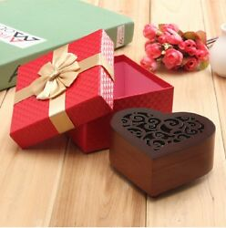 Wooden Heart Shape Carving Music Box♫ Raindrops Keep Falling On My Head ♫