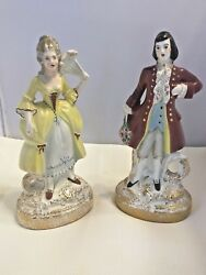 Colonial Couple Figurines Vintage Eton China Hand Paint