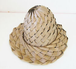 Vintage Asian Oriental Woven Straw Large Weave Dome Sun Hat