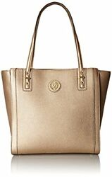 Anne Klein Front Runner Tote Bag Magnetic Closure Gold One Size Purse Clutch