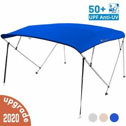 4 Bow Boat Bimini Top Cover Boat Canopy Shade With Support Pole Boot Blue 79-84