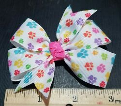 3inches set of 2 puppy paws pin wheel bows toddler girl nonslip clip paw patrol