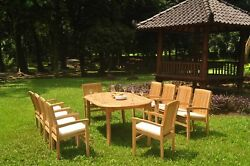 Dswv A-grade Teak 11pc Dining Set 118 Oval Table 10 Stacking Arm Chair Outdoor