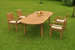 Dsnp A-grade Teak 5pc Dining Set 118 Oval Table 4 Stacking Arm Chair Outdoor