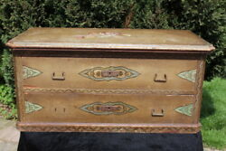 18th Century 1754 Swiss Painted Wooden Dowry Chest. 2 Drawers Hinged Lid.