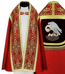 Red Roman Cope With Stole Pelican Kt013-ac25h8 Vestment Capa Pluvial Roja