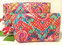 Vera Bradley PAISLEY IN PARADISE MEDIUM & LARGE COSMETIC Bag and Case NWT