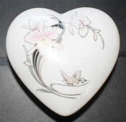 Vintage Japan Bone China Orchid Garden Butterfly Heart Shape Trinket Box And 7id