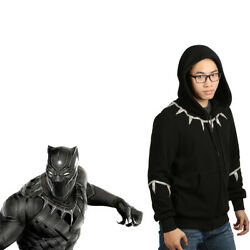 Black Panther Cosplay Zip-up Hoodie Hooded Sweater Costume Props Adult Xcoser