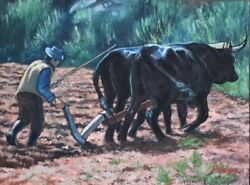 Original Painting Plowing The Field, Oil On Canvas, 36x48, By C. Pecharka