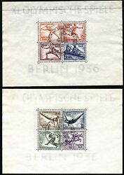 Germany Deutsches Reich Postmarked Sheets Sc B91 B92 Olympic Games 1936