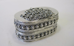 Fine 925 Sterling Silver Handcrafted Shiny Beaded Filigree Oval Snuff Spice Box