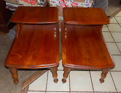 Pair Of Maple Mid Century Step End Tables / Side Tables  T705