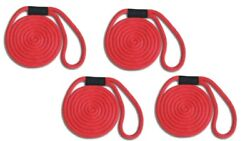 Solid Braid Nylon Dock Line 5/8 X 35and039 4-pack Floats / Fade Proof - Usa - Red