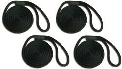 Solid Braid Nylon Dock Line 5/8 X 45and039 4-pack Floats / Fade Proof Usa - Black