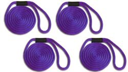 Solid Braid Nylon Dock Line 5/8 X 45and039 4-pack Non-fading / Usa Made / Purple