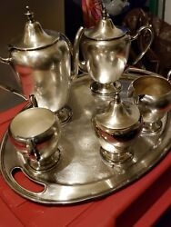 Academy Silver On Copper Tea Pot And Keystonware Cream And Sugar Bowl Set Nice