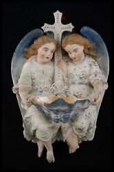 † 19th Italy Archangels Polychrom Bisque Porcelain Holy Water Font Hallmarked †
