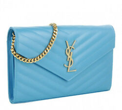 Saint Laurent YSL Medium Monogram Chain Wallet WOC Crossbody Light Blue $1750