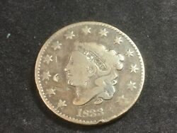 1833 Coronet Head Large Cent Rev-rotated - N1