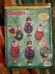Vintage Bucilla Felt Applique Christmas Ornaments Kit  84078  1999
