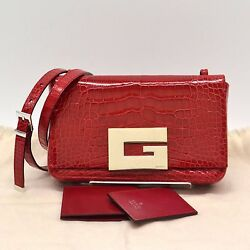 Authentic Gucci Genuine Crocodile Leather Bag Clutch Shoulder Red G Logo Hand GG