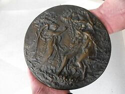 Antique Judaica French Plaque Bronze Bible Adam And Eve Plate Tray 1023
