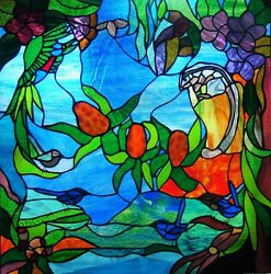 Native Fairy Wren Lorikeet And Possum Custom Built Stained Glass Window Or Door