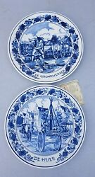Royal Goedewaagen ,delft Blue Plates The Ground Worker And The Pile Driver