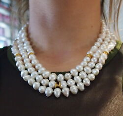 Pearl Necklace 3 Strands With 14 Karat Gold Clasp And Beads L=17 1/8-127.9 Gr