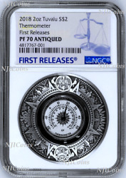 2018 P Tuvalu Thermometer High Relief Antiqued 2 Oz Silver 2 Coin Ngc Pf70 Fr