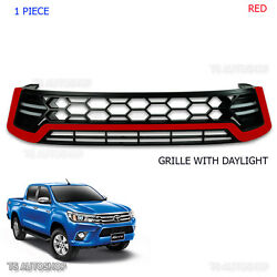 Red Drl Daylight Front Grille Grill Intake Toyota Hilux Revo Sr5 Mk80 2015 16 17
