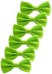 Udres 6 Pack Solid Bow Tie Satin Pre-tied Bowtie For Wedding Party (One Size