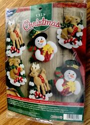Bucilla Forest Friends Felt Christmas Ornament Kit #86670 SnowmanReindeerBunny