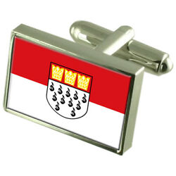 Cologne City Germany Sterling Silver Flag Cufflinks Engraved Box