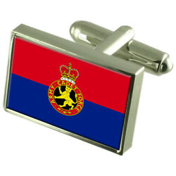 Army Cadet Military England Sterling Silver Flag Cufflinks Engraved Box