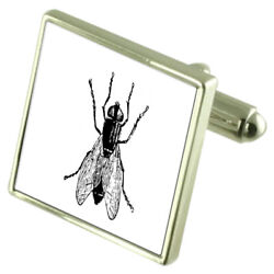 Fly Insect Sterling Silver Cufflinks Optional Engraved Box