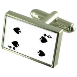 Spades Playing Card Number 4 Sterling Silver 925 Cufflinks Boxed