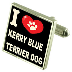 I Love My Dog Sterling Silver 925 Cufflinks Kerry Blue Terrier