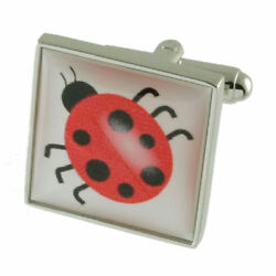 Book Ladybird Insect Cufflinks Solid Sterling Silver 925 Engraved Message Box