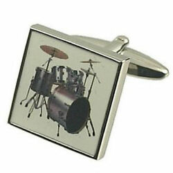 Music Drum Kit Solid Sterling Silver 925 Cufflinks With Engraved Message Box