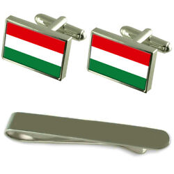 Hungary Flag Silver Cufflinks Tie Clip Engraved Gift Set