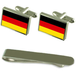 Germany Flag Silver Cufflinks Tie Clip Engraved Gift Set