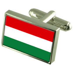 Hungary Sterling Silver Flag Cufflinks In Engraved Personalised Box