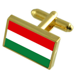 Hungary Gold-tone Country Flag Cufflinks Select Gift Pouch